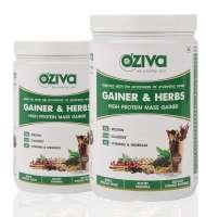 Oziva Gainer & Herbs, High Protein Mass Gainer Powder (Pack OF 2) Chocolate