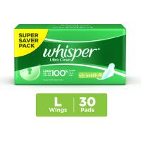Whisper Ultra Clean Wings Sanitary Pads L