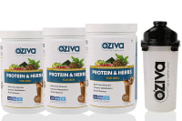 Oziva Protein & Herbs for Men 1kg (Pack OF 3), Chocolate with Free Shaker