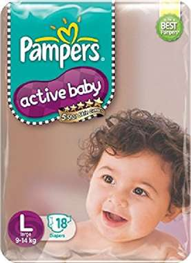 PAMPERS ACTIVE BABY  DIAPER (LARGE)