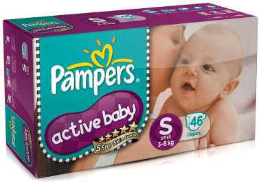 PAMPERS ACTIVE BABY  DIAPER (SMALL)
