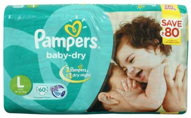 PAMPERS BABY DRY DIAPER (LARGE)