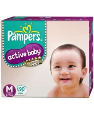 PAMPERS ACTIVE BABY  DIAPER (MEDIUM)