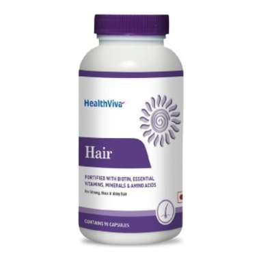 HEALTHVIVA HAIR WITH BIOTIN, UNFLAVOURED CAPSULE