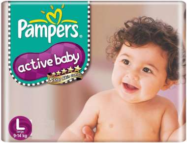 PAMPERS ACTIVE BABY  DIAPER LARGE