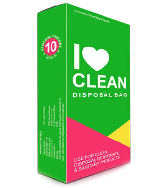 I LOVE CLEAN-DISPOSABLE SANITARY BAG