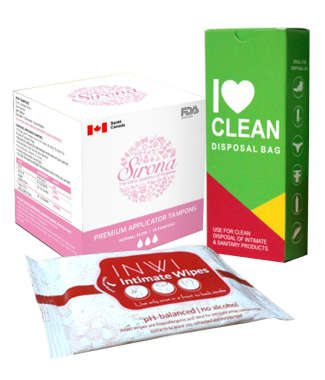 WOMEN INTIMATE HYGIENE COMBO (SIRONA APPLICATOR TAMPONS NORMAL FLOW + I LOVE CLEAN DISPOSAL BAG + INWI INTIMATE WIPES) KIT