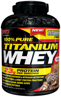 SAN 100% PURE TITANIUM WHEY POWDER CHOCOLATE ROCKY ROAD