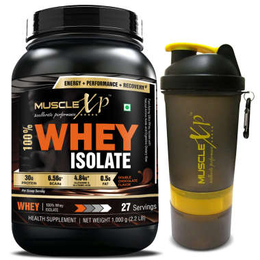 MUSCLEXP 100% WHEY ISOLATE  1KG, DOUBLE CHOCOLATE WITH SHAKER-500ML (DESIGN 9)