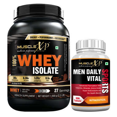 MUSCLEXP 100% WHEY ISOLATE  1KG, DOUBLE CHOCOLATE WITH MEN DAILY VITAL SPORTS MULTIVITAMIN 90 TABLETS