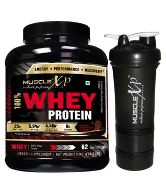MUSCLEXP 100% WHEY PROTEIN  2KG, DOUBLE CHOCOLATE WITH SHAKER 500ML (DESIGN 11)