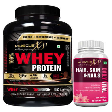 MuscleXP 100% Whey Protein  2Kg, Double Chocolate with MuscleXP Hair, Skin & Nails Advanced Multivitamin 60 Tablets