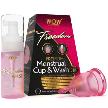 WOW FREEDOM REUSABLE MENSTRUAL CUP AND WASH  (MEDIUM)