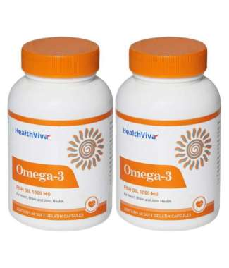 HealthViva Omega-3 Fish Oil 1000mg Capsule Pack of 2