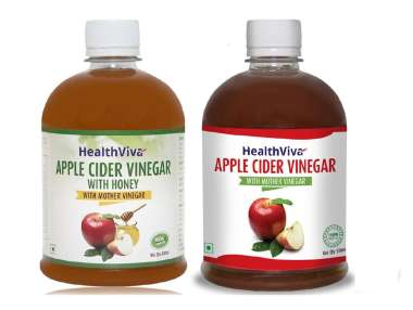 HealthViva Apple Cider Vinegar with Mother Vinegar Combo (Unflavoured & with Honey, 500ml Each)
