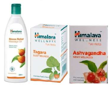 HIMALAYA ANTI-STRESS COMBO PACK (ASHVAGANDHA 60 TABLET, TAGARA 60 TABLET, STRESS RELIEF MASSAGE OIL 200ML)