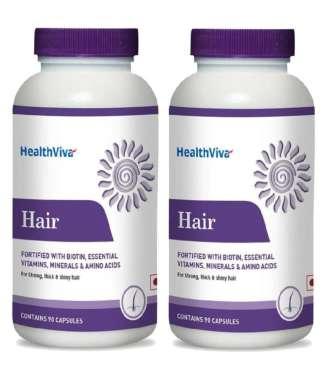 HealthViva Hair (Biotin, Essential Vitamin Minerals & Amino Acid) Capsule Pack of 2