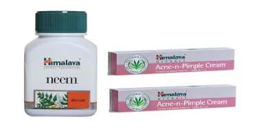 Himalaya Skin Care Combo Pack (Neem 60 Tablets, 2 PC Acne-N-Pimple Cream 20gm)