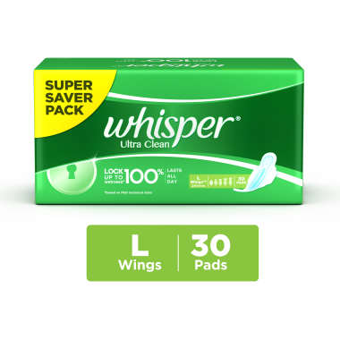 Whisper Ultra Clean Wings Sanitary Pads L
