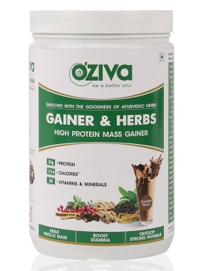 Oziva Gainer & Herbs, High Protein Mass Gainer  Powder Chocolate