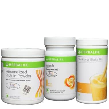 Herbalife Formula 1 500gm (Mango), Personalizes Protein Powder 200gm and Afresh Energy Drink Mix 50gm (Lemon) Combo