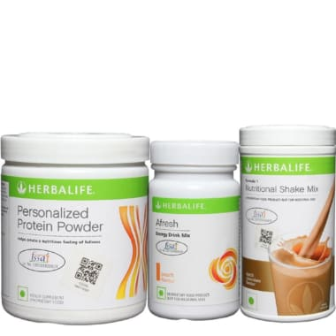 Herbalife Formula 1 500gm (Chocolate), Personalizes Protein Powder 200gm and Afresh Energy Drink Mix 50gm (Lemon) Combo