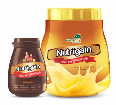 Ayurwin Combo Pack OF Nutrigain Plus, 60Caps & Nutrigain Plus Powder, 500gm (Banana)