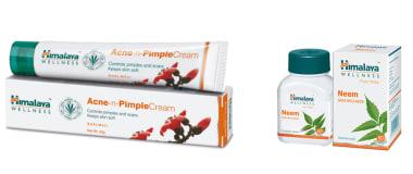 Himalaya Wellness Skin Care Combo Pack (Neem 60 Tablets, 2 PC Acne-N-Pimple Cream 20gm)