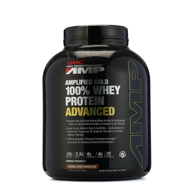 GNC Pro Performance AMP Amplified Gold 100% Whey Protein Advanced Powder Double Rich Chocolate