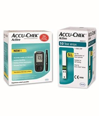 Accu-Chek Active Blood Glucose Meter Kit (Box of 10 Test strips Free)