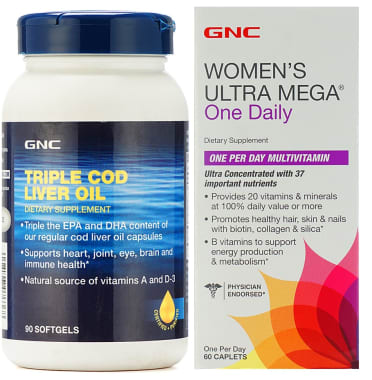 GNC Women's Ultra Mega One Daily Tablet with Triple Cod Liver Oil Softgels