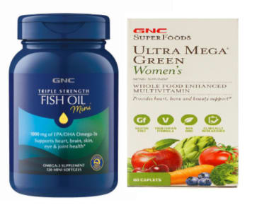 GNC Triple Strength Fish Oil Mini Softgels with Ultra Mega Green Women Tablet