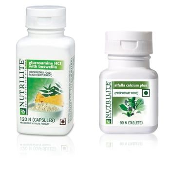 Amway Amway Bone Joint Support Combo (Alfalfa Calcium Plus, 90 Tablet + Glucosamine HCL with Boswellia, 120 Capsule
