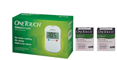One Touch Combo Pack of Select Simple Glucometer with 20 Free Test Strips