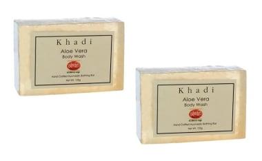 Khadi Mauri Herbal Aloe Vera 125gm Soap Pack of 2