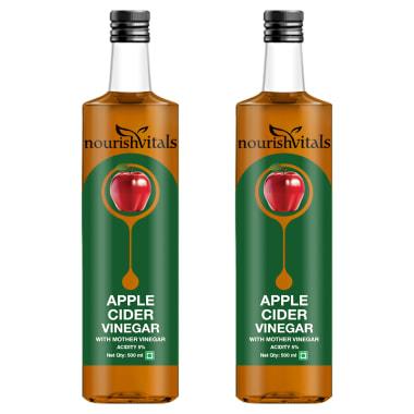 NourishVitals Apple Cider Vinegar with Mother Vinegar Acidity 5% Pack of 2