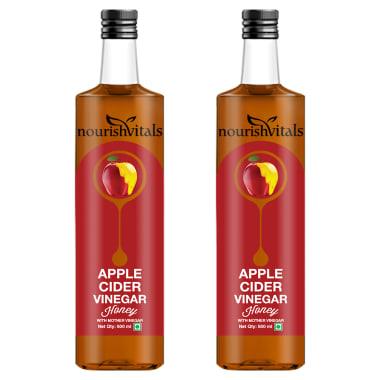 NourishVitals Apple Cider Vinegar Honey with Mother Vinegar Pack of 2