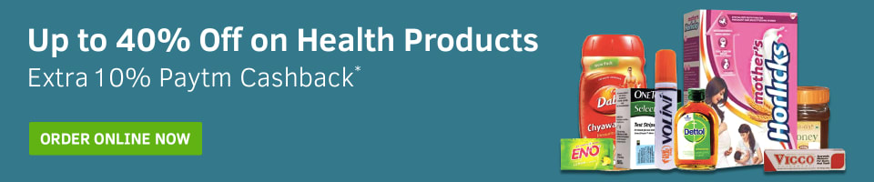 Up to 40% Off on Health Products & Extra 10% Paytm Cashback