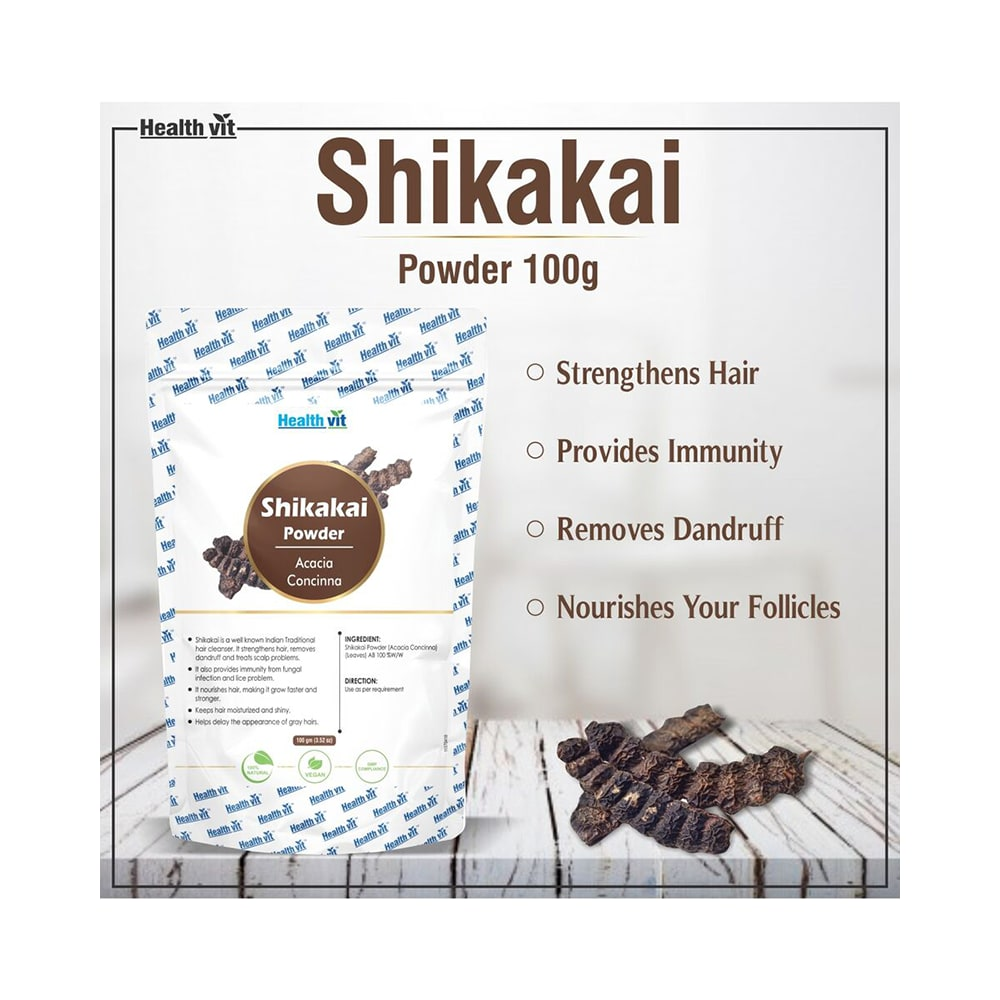 Healthvit Natural Shikakai Acacia Concinna Powder Buy 100 Gm
