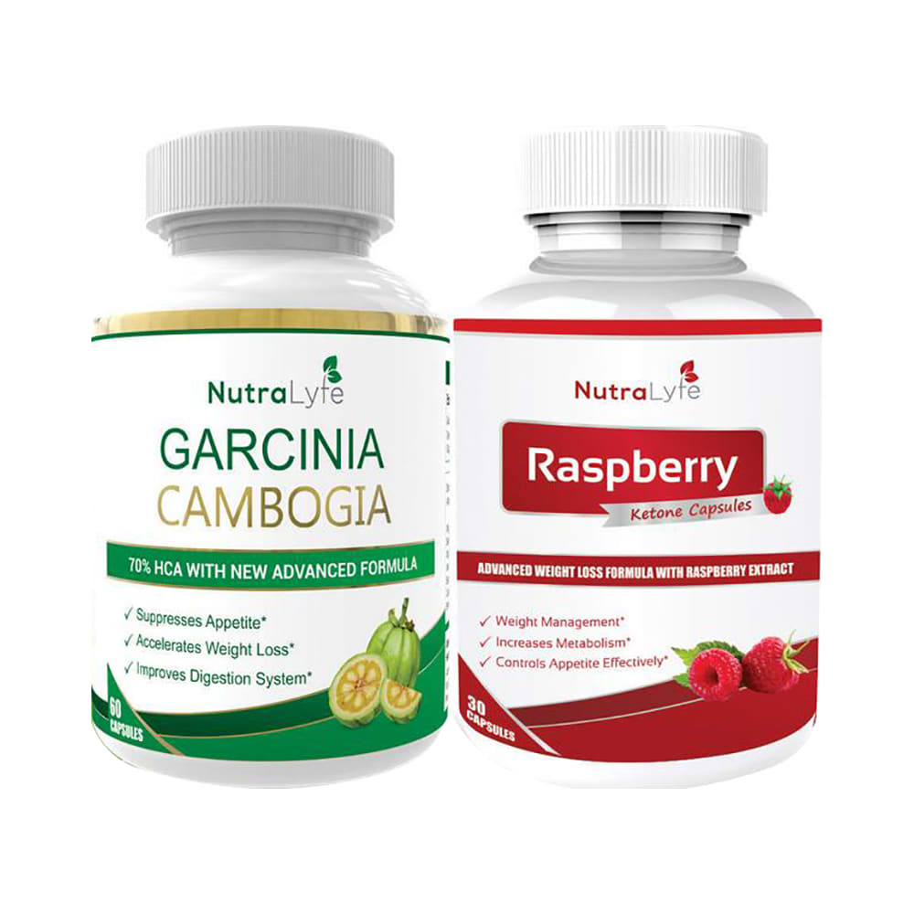 Nutralyfe Combo Pack Of Ultimate Weight Management Herbal Garcinia Cambogia Extract 60 Capsules And Raspberry Ketone Extract 30 Capsules