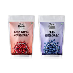 True Elements Combo Pack of Dried Whole Cranberries and Dried Blueberries  (125gm Each)