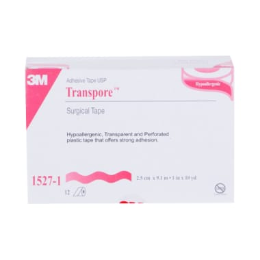 3M 1527-1 Transpore Hypoallergenic Surgical Tape 1 inch x 10 yard