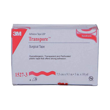 3M 1527-3 Transpore Hypoallergenic Surgical Tape 3 inch x 10 yard
