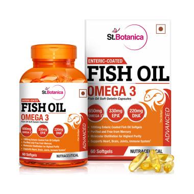 St.Botanica Enteric Coated Fish Oil Omega 3 Advanced with 1000mg Fish Oil and 650mg Omega 3 Softgels