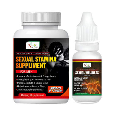 Natural Combo Pack of Sexual Stamina Suppliment 500mg, 60 Capsule & Sexual Wellness Oil 15ml