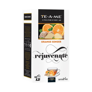 TE-A-ME Infusion Bag (2gm Each) Orange Ginger Rejuvenate with 3 Flavored Bags Free