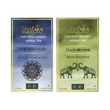 Shistaka Combo Pack of Certified Organic Herbal Tea (1.8gm Each) Good Night Sleep & Tulsi Brahmi