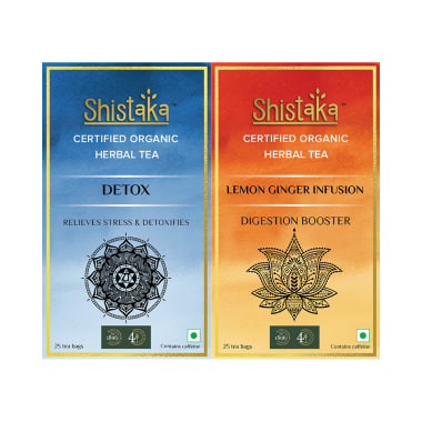 Shistaka Combo Pack of Certified Organic Herbal Tea (1.8gm Each) Detox & Lemon Ginger Infusion