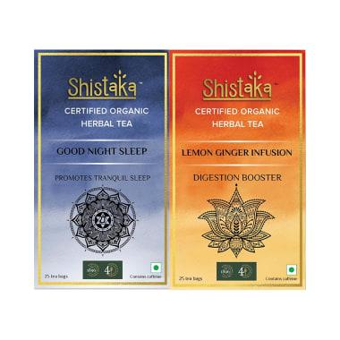 Shistaka Combo Pack of Certified Organic Herbal Tea (1.8gm Each) Good Night Sleep & Lemon Ginger Infusion