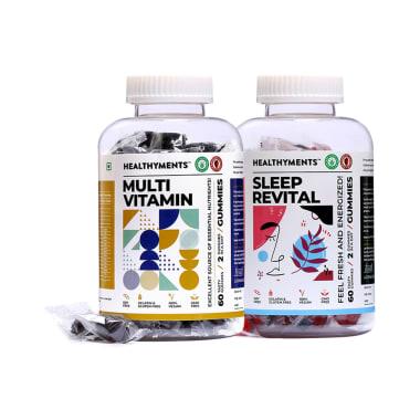 Healthyments Body & Mind Wellness Combo Pack of Multivitamin Gummies Strawberry & Sleep Revital Gummies Strawberry (60 Each)